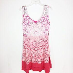 Desigual Boho Print Dress Pink & Orange